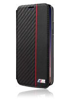 BMW Book Case Bi-Material Carbon/PU Red Stripe