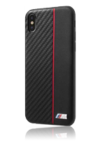 BMW Hard Cover Bi-Material Carbon/PU Red Stripe