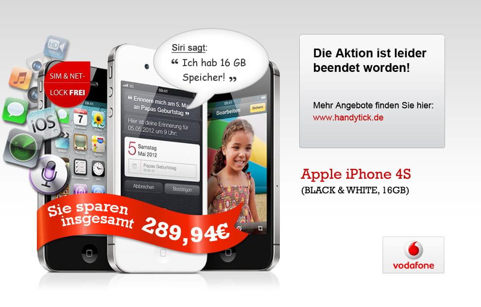 Groupon Vodafone SFI WE mit iPhone 4S 16GB