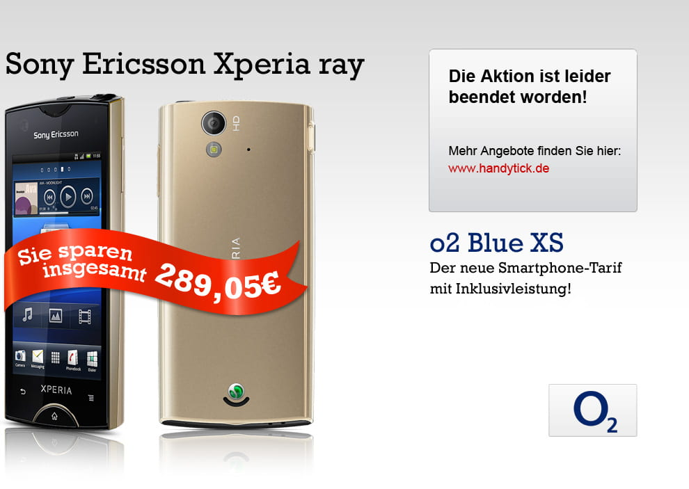 Groupon Blue XS mit Sony Ericsson Xperia Ray gold