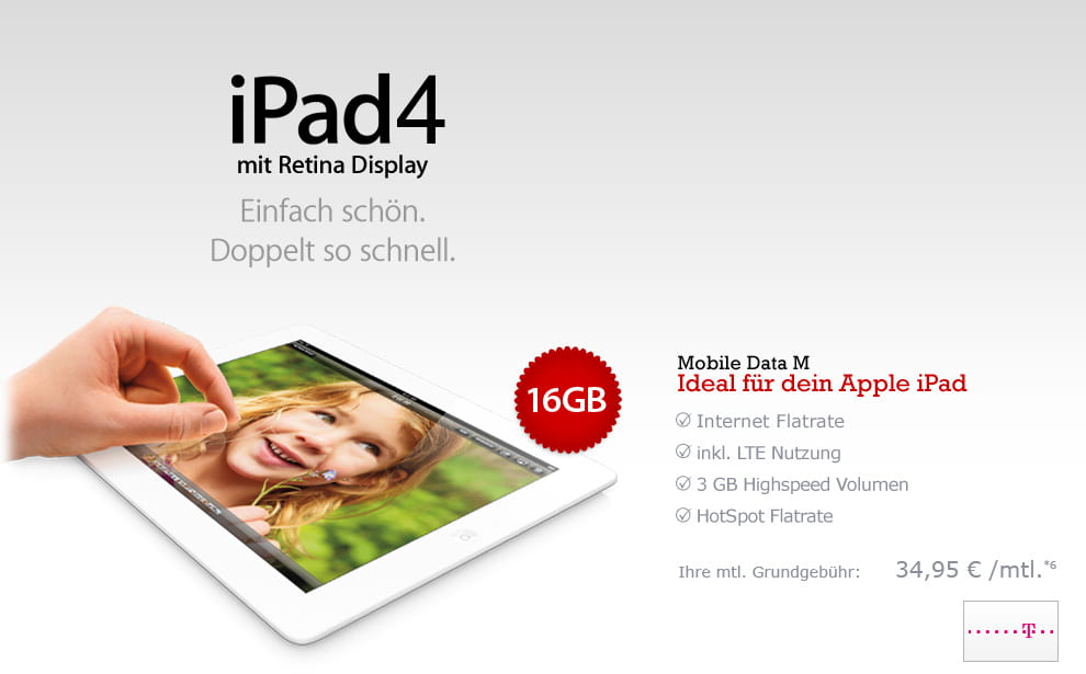 Groupon Apple iPad4 16GB Cellular + Telekom Mobile Data M